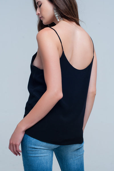 Black Cami Top With Shiny Pattern