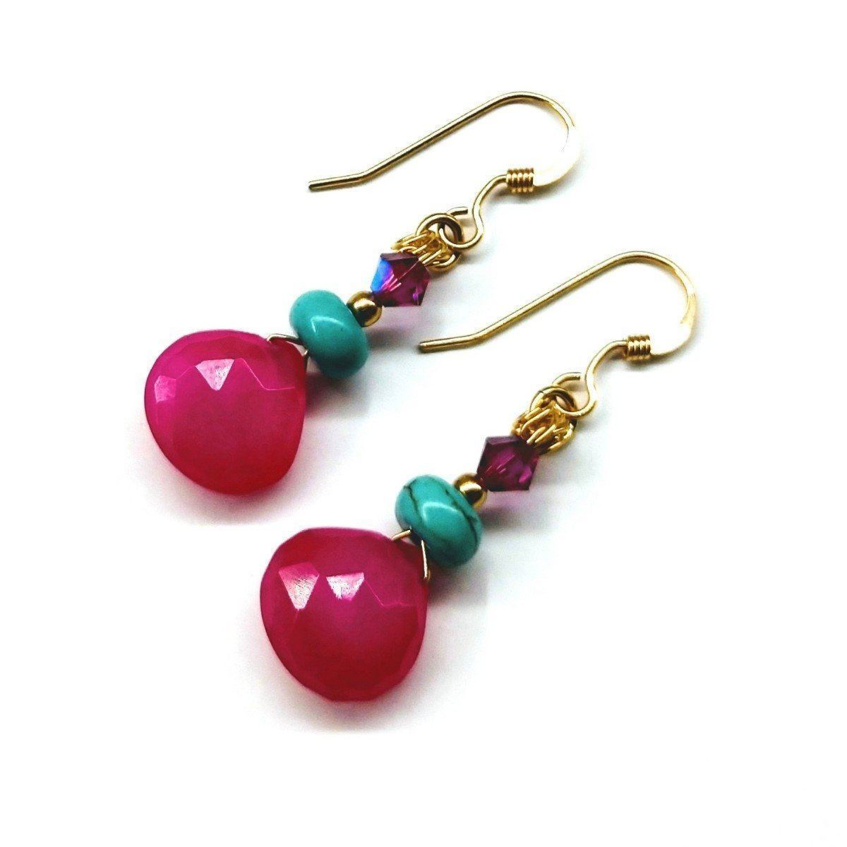 14 Kt Gold Filled Wire Wrapped Pink And Turquoise Drop Gemstone Earrings