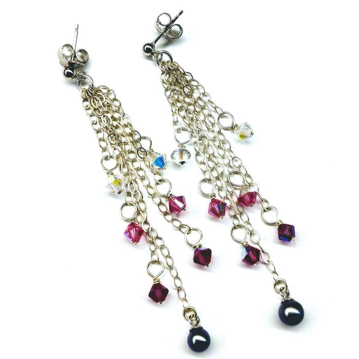 Long Sterling Silver Crystal  Pearl Tassel Earrings