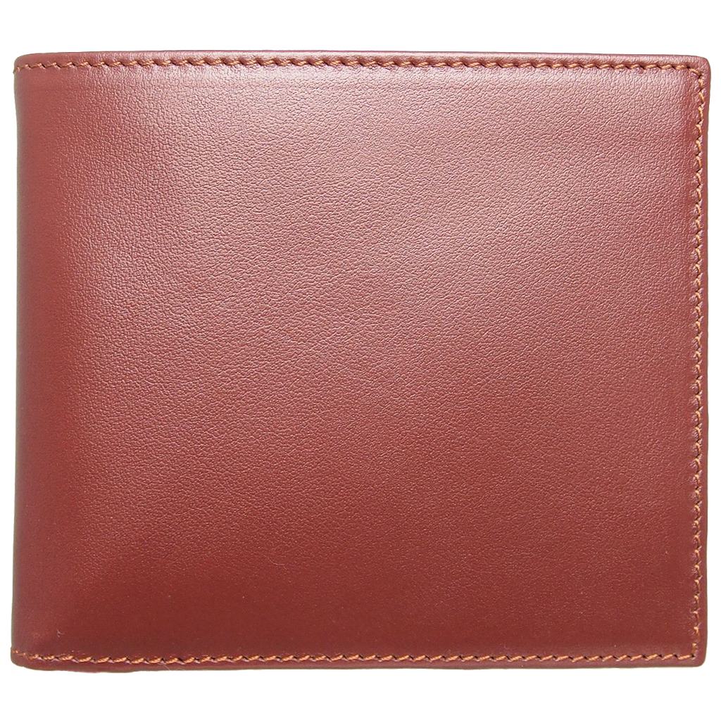 8 Cc Small Buffed Calf Leather Billfold Wallet Brown