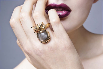 Dragon Ring With Natural Labradorite In 18K Gold Plated Brass