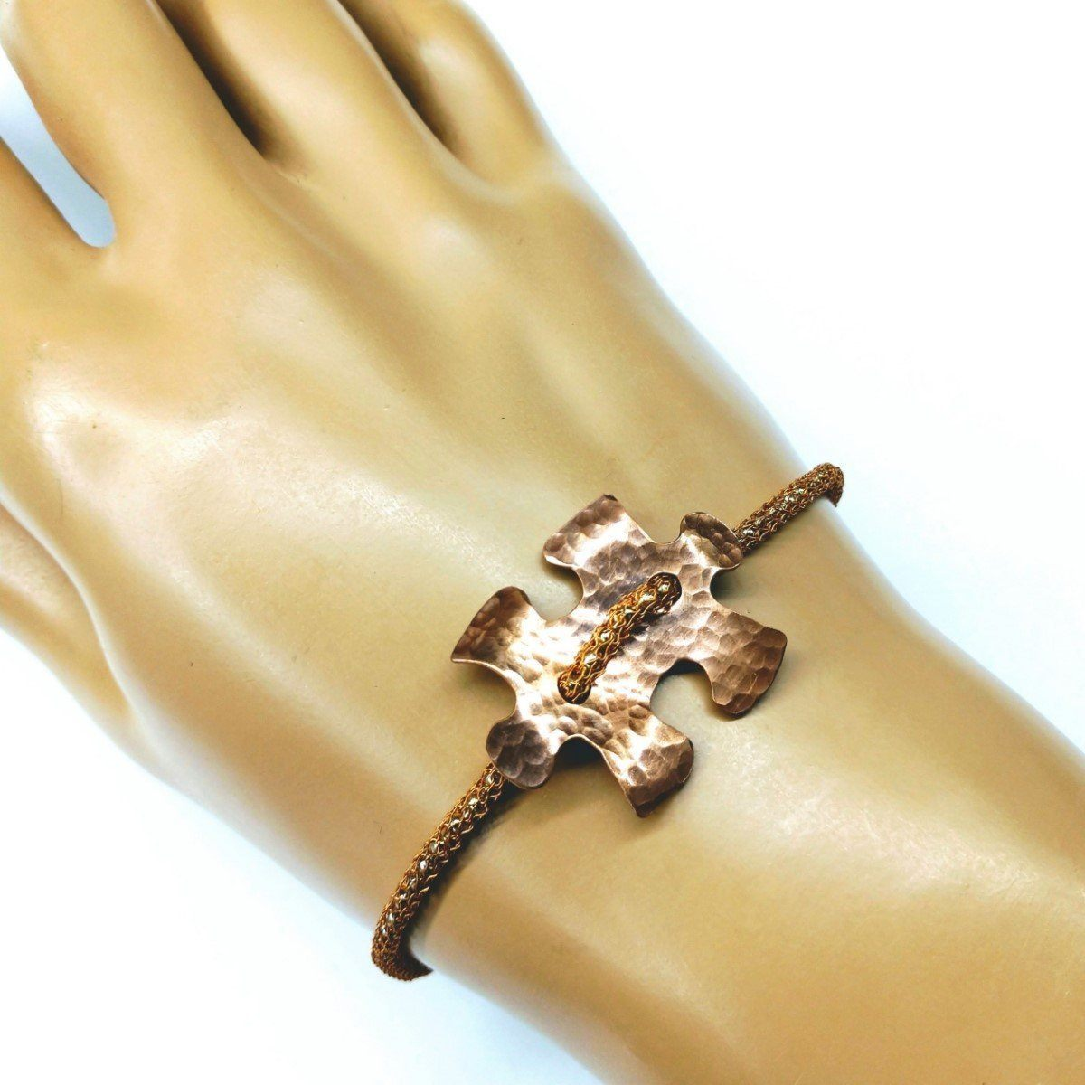 Copper Puzzle Piece Button Viking Knit Autism Awareness Bracelet
