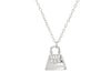 "Teen Sparkling Cz Purse Pendant Necklace In Sterling Silver, 16"" + 2"""