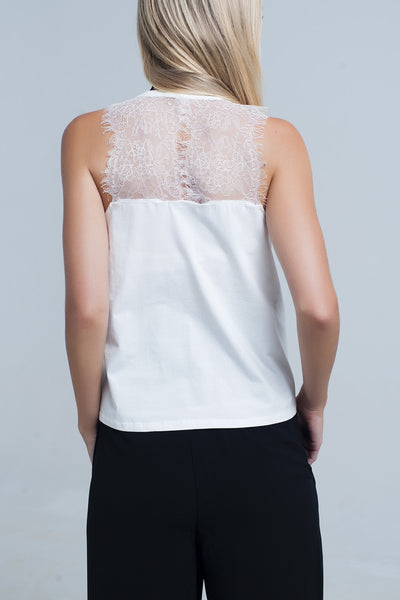 Cream Top With Lace Detail