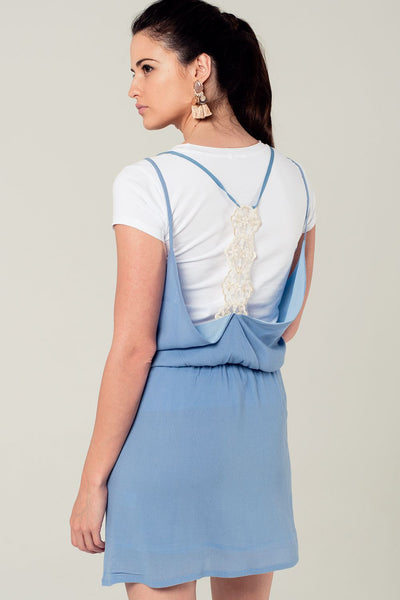 Blue Mini Dress With Back Crochet Detail