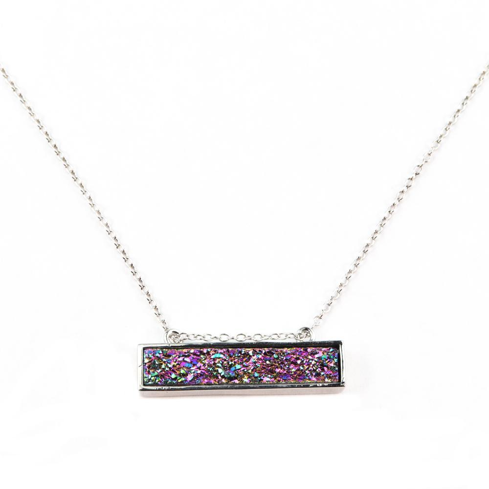 Bethany Druzy Bar Necklace In Silver