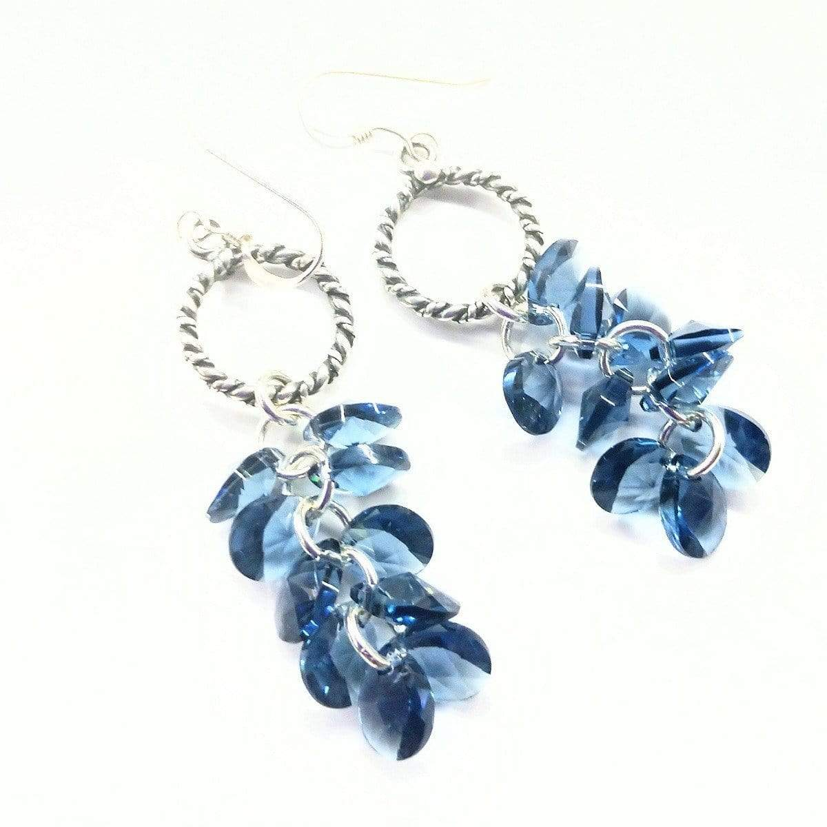 Sterling Silver Denim Blue Crystal Cluster Earrings