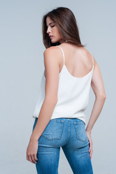 Cream Cami Top With Shiny Pattern