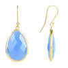 Gold Single Drop Earring Dark Blue Chalcedony