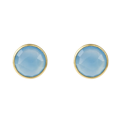 Medium Circle Stud Gold Blue Chalcedony