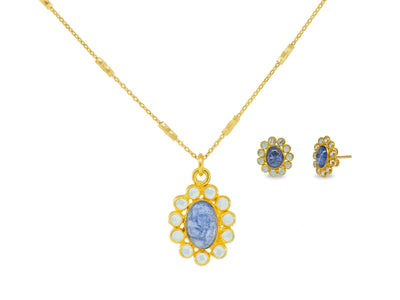 Blue Tanzanite & Crystals Necklace And Earrings Set