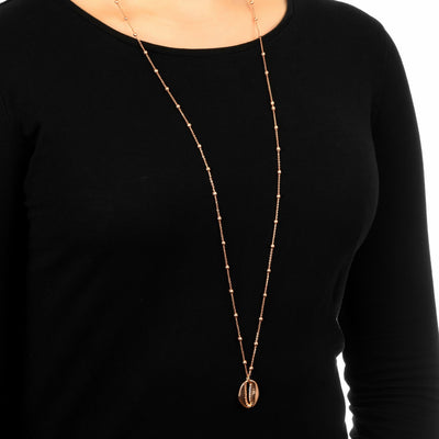 Long Cowrie Shell Pendant Necklace Ball Chain Rose Gold