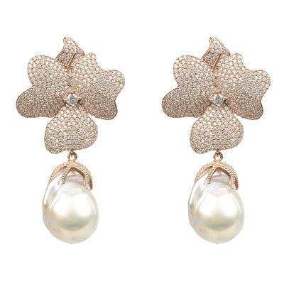 White Flower Baroque Pearl Drop Earring Rosegold