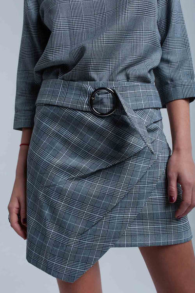 Gray Tartan Pattern Skirt With Buckle