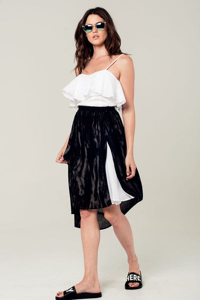 Asymmetric Hem Skirt In Black And Gray Print