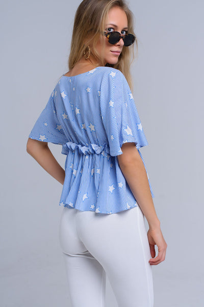 Blue Top With Stars And Ruffle