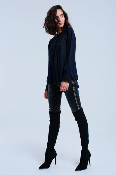 Flowing Navy Blouse