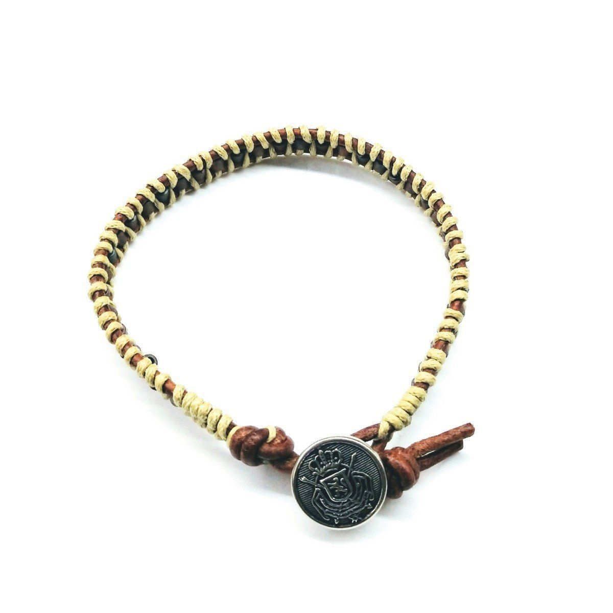 Two Tone Leather Wrap Seed Bead Button Bracelet
