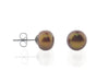 Coffee Pearl Stud Earrings, 9-9.5Mm