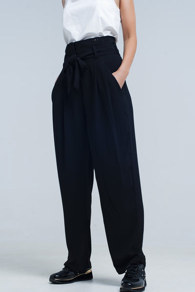 High Waist Black Pants With Bow