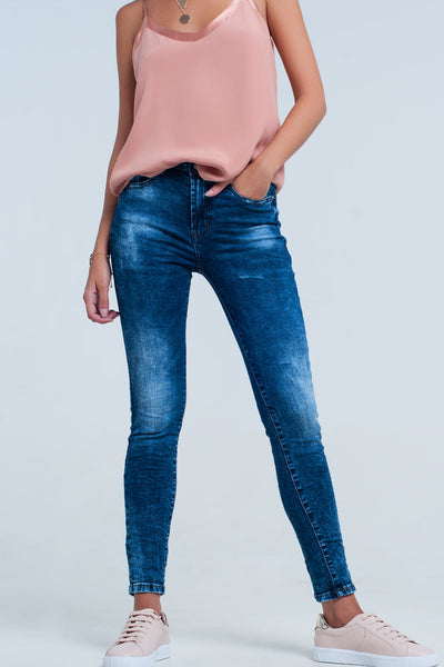 High Waist Skinny Jeans In Bright Blue Wash