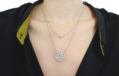White Gold Double Strand Lace Necklace