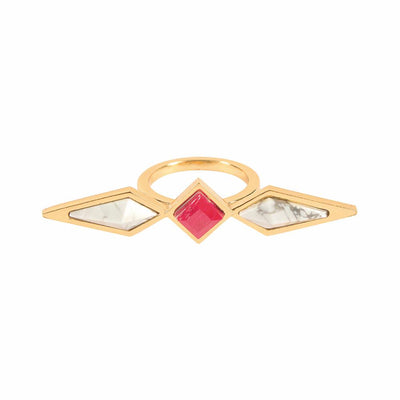 Howlite And Red Ruby Combo Ring