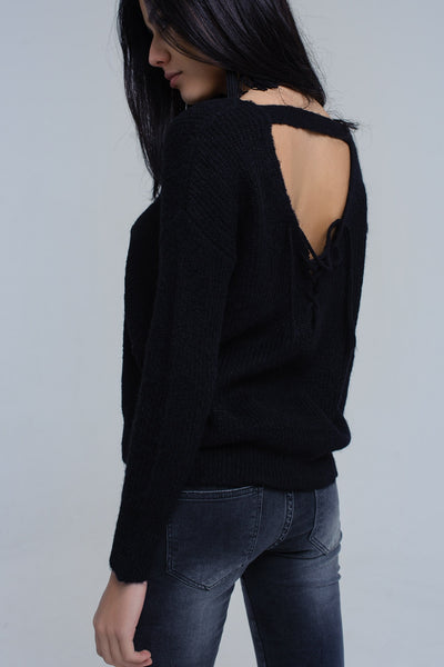 Black Knitted Sweater With Tie-Back Closure