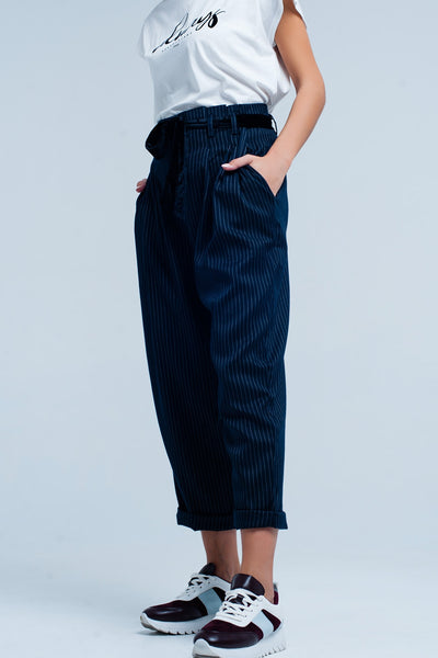 Dark Grey High Waisted Striped Pants