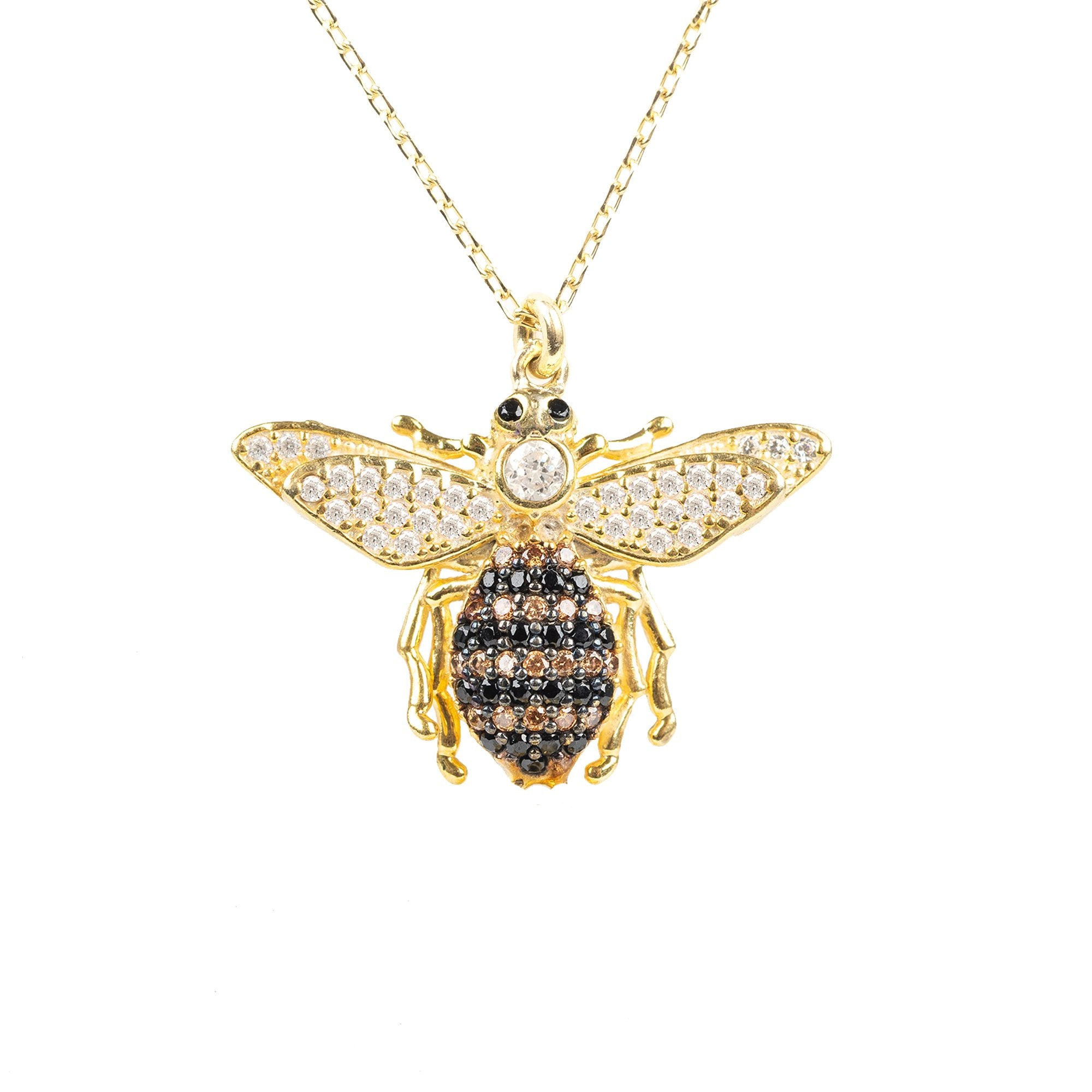 Honey Bee Pendant Necklace Gold