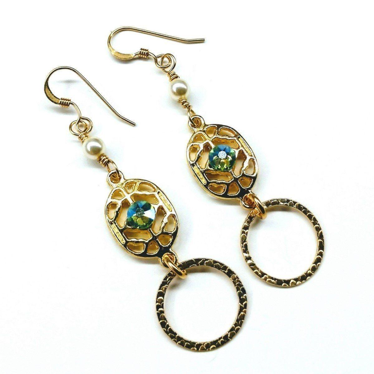 14 Kt Gold Filled Green Crystal Open Circle Earrings