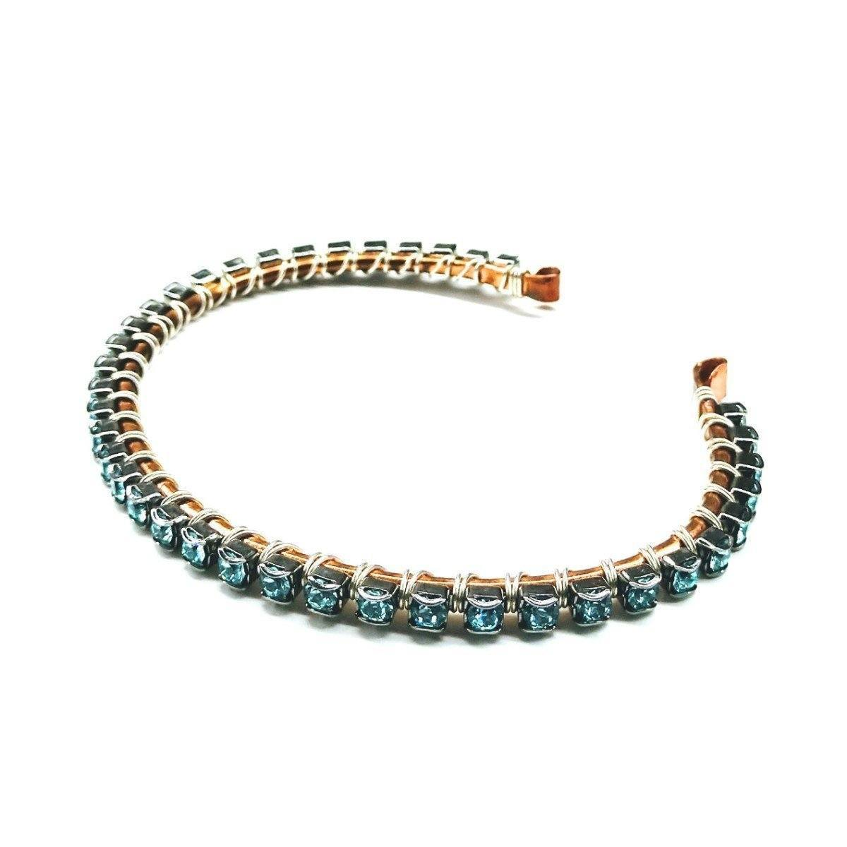 Wire Wrapped Copper Silver Turquoise Crystal Rhinestone Bangle