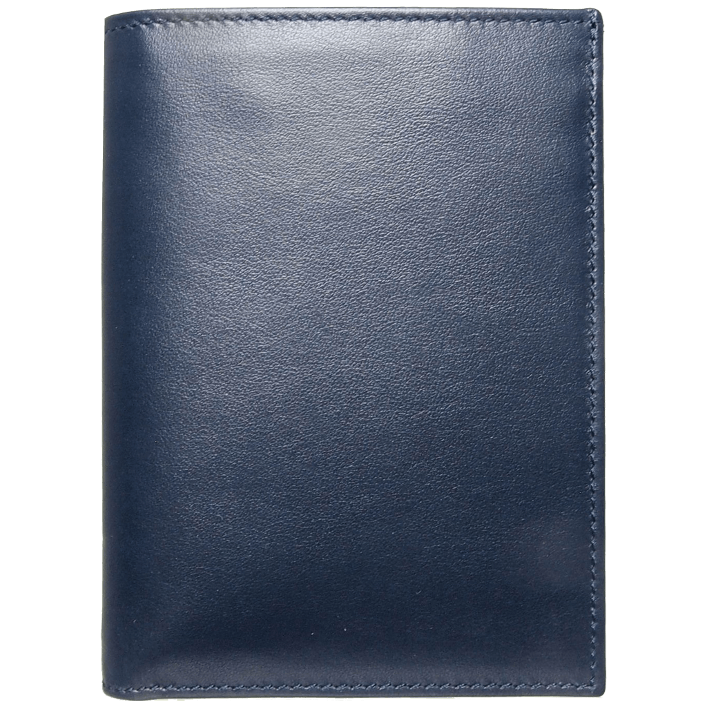 8 Cc Buffed Calf Leather Pocket Billfold Blue