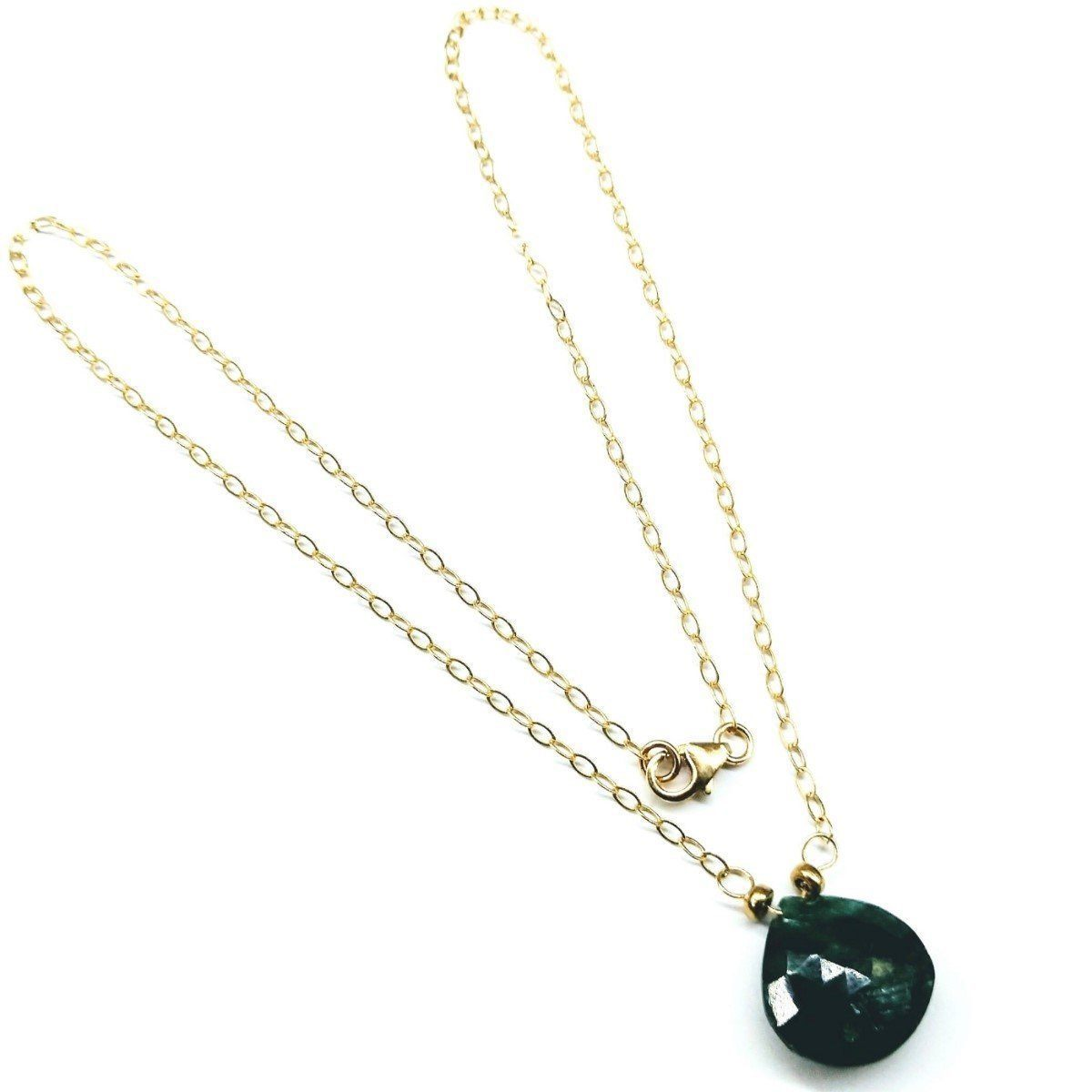 14 K Gold Filled Wire Wrapped Faceted Briolette Drop Emerald Necklace
