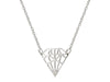 925 Sterling Silver Necklace  Diamond Shaped Pendant With Sparkling Cz Stone