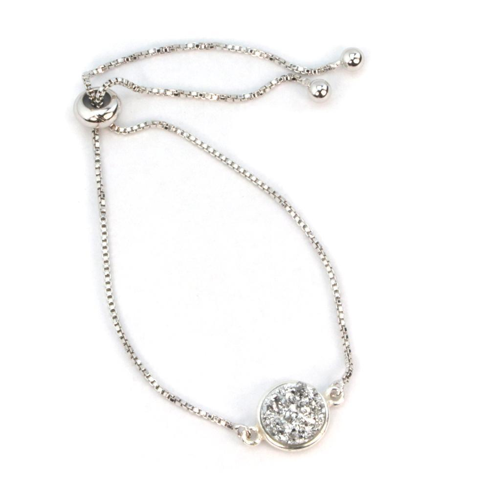 Addison Druzy Adjustable Bracelet In Silver