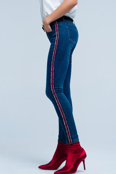 Blue Skinny Jeans With Multi-Color Side Stripe