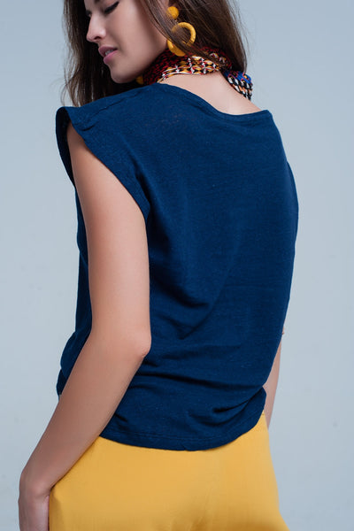 Navy T-Shirt With Scoop Neck