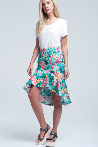 Floral Asymmetrical Green Skirt