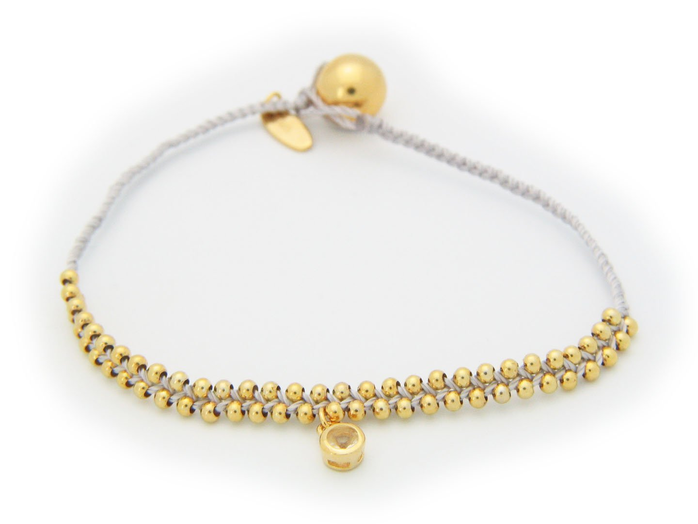 April Crystal (Cz) Ivory Cord Bracelet In Vermeil, 6""