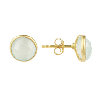 Medium Circle Stud Gold Aqua Chalcedony