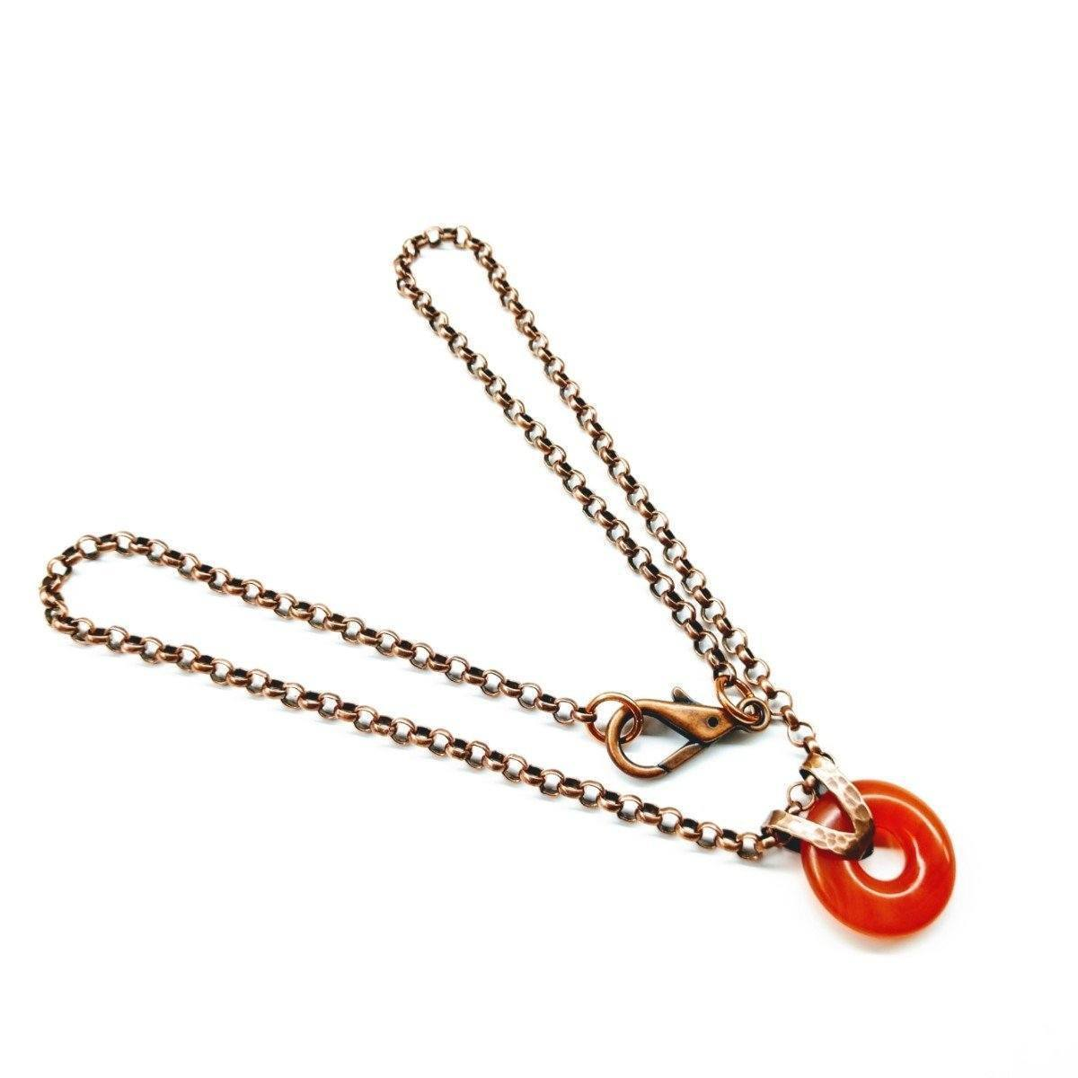 Men'S Carnelian Gemstone Donut Liversaver Copper Necklace