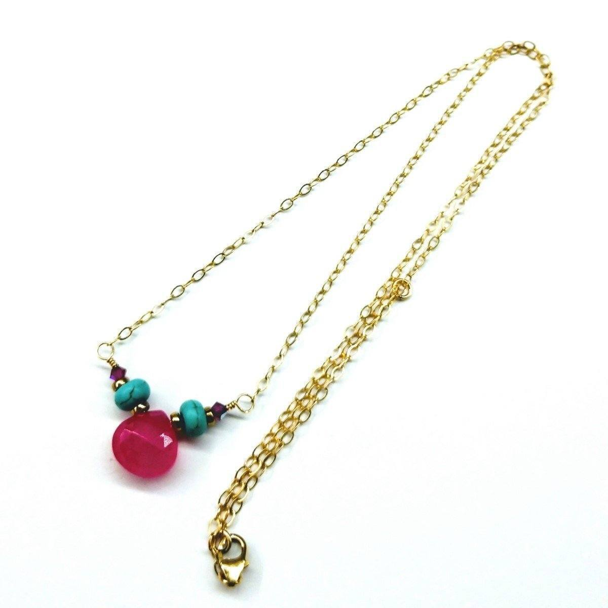Gold Filled Turquoise And Pink Gemstone Drop Necklace