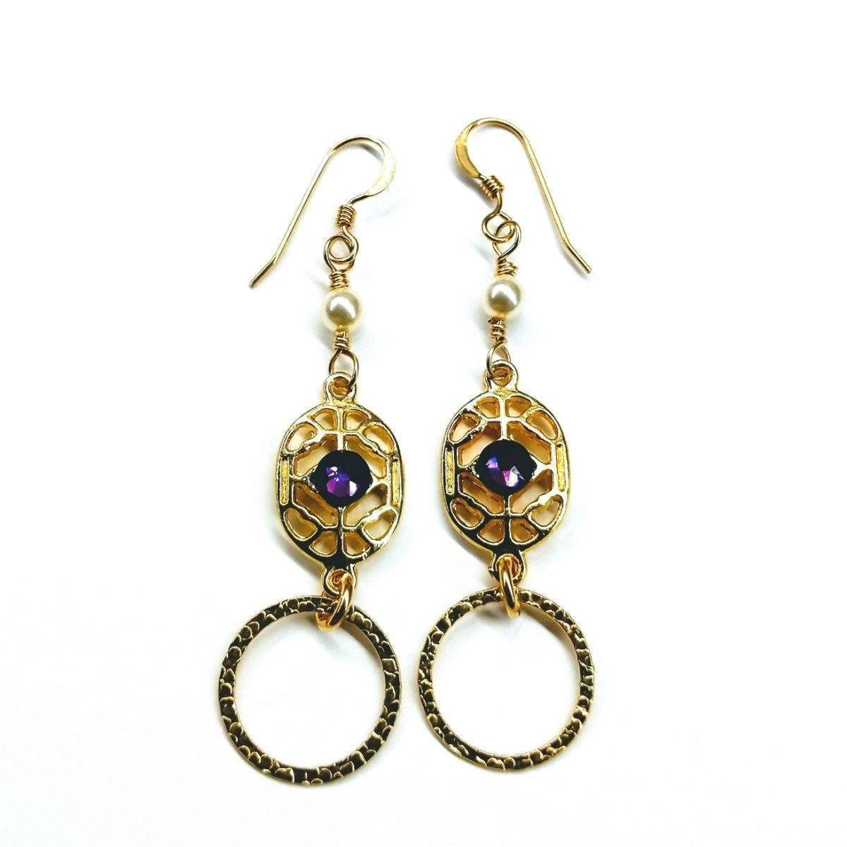 Gold Filled Purple Crystal Circle Earrings