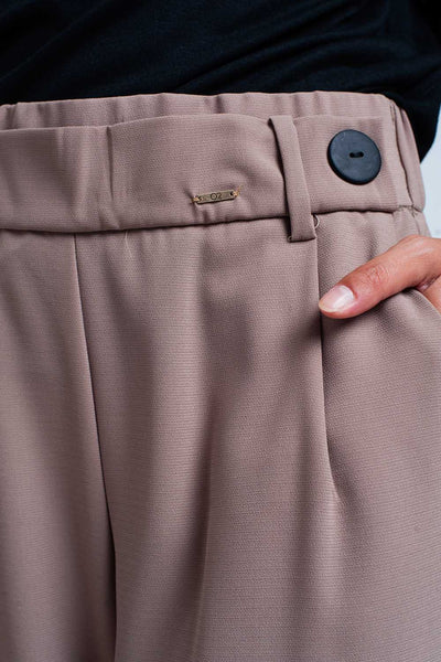 Beige Wide Leg Pants With Buttons