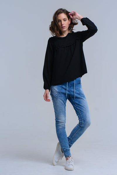 Black Shirt With Ruffle Detail