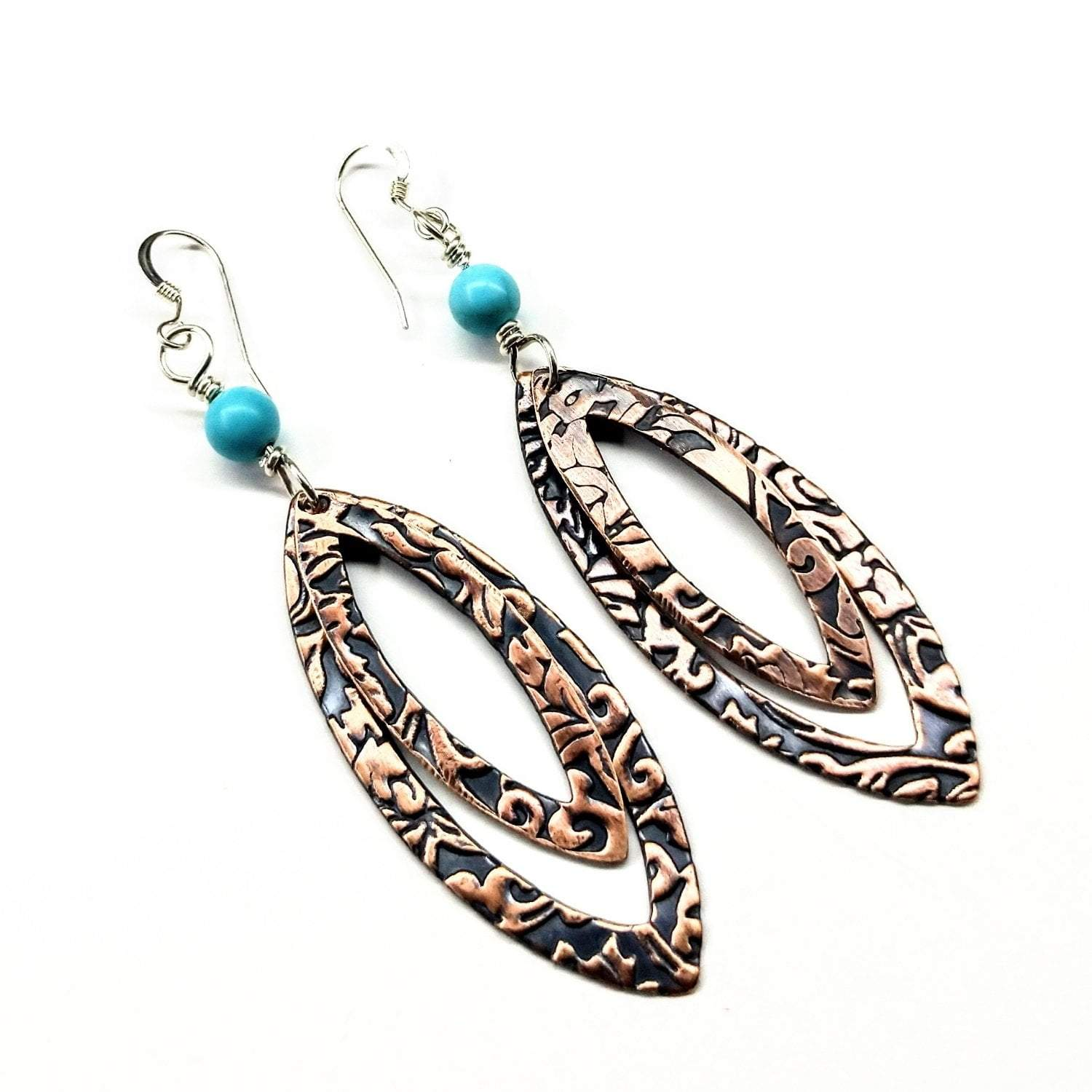 Long Pointed Oval Copper And Turquoise Earrings