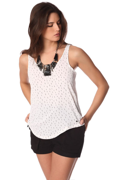 White Speckled Print Top With Low Hem