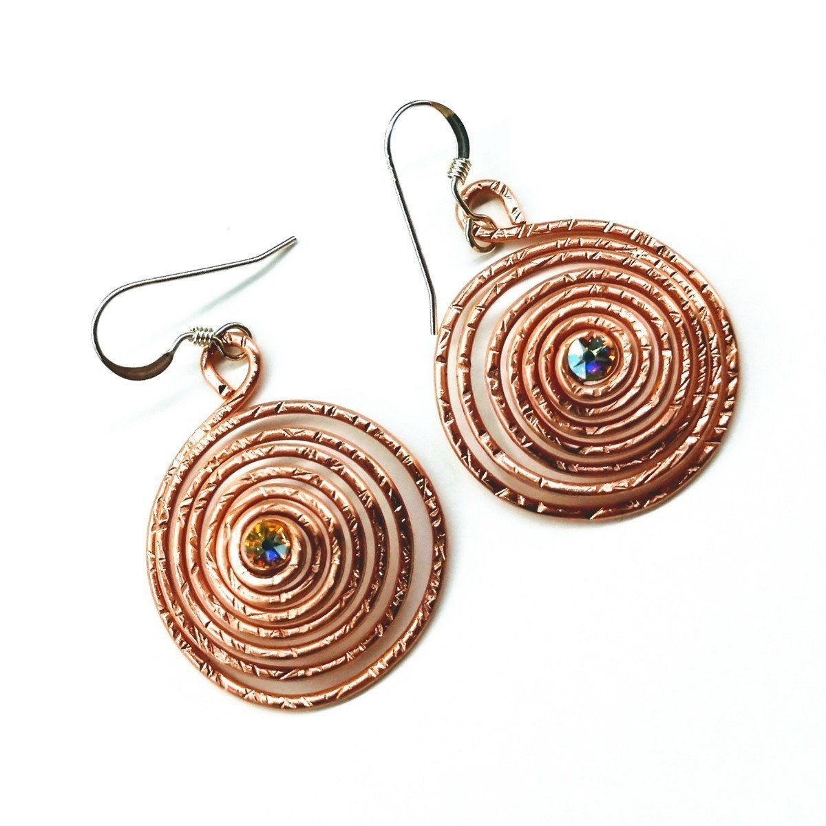 Copper Crystal Spiral Hoop  Earrings
