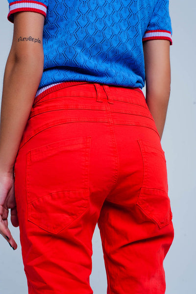 Red Low Rise Boyfriend Jeans